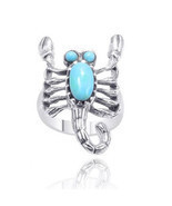Artisan Turquoise Scorpion Ring .925 Sterling Silver 2ctw aka Astrologic... - $39.99
