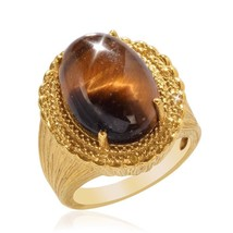 Natural Oval Shape 12.00ct Tigers Eye Created Yellow Sapphire Ring 14k o... - $29.39