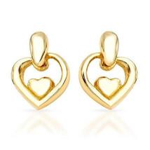 Classic Design Heart Shape Dangle Drop Earrings 14k Yellow Gold over 925 SS - $24.49