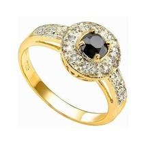 Black White Diamond 0.71ct Engagement Promise Ring 14k Yellow Gold over ... - $97.99