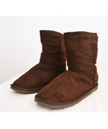Women's Brown Ugg Boots Faded Glory Faux Leather and Faux Sherpa Size 8 - $19.99