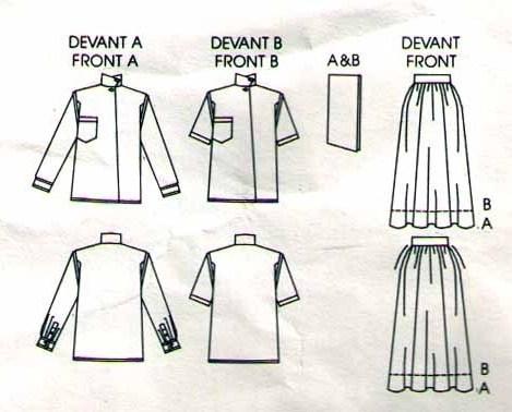 1985 TOP & SKIRT Pattern 1548-v Size 10 by RALPH LAUREN