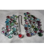 Necklace Glass Gem and 30 Mix Assorted Round Fl... - $18.00