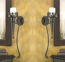 Set of 2 Black Gothic Torch Style Matte Candle Wall Sconces - $29.65