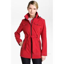 NWT LONDON FOG Red Belted Zip Jacket Detachable Hood Fleece Lining Coat ... - $79.99