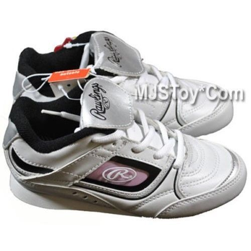 NIB Rawlings WHITE BASEBALL CLEATS Shoes CLEATED Shoe Kids Size Rubber Spikes