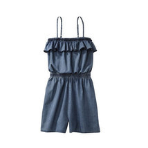 NEW Mossimo Juniors Cute Summer Spaghetti Strap Ruffle Romper Denim Ligh... - $29.99