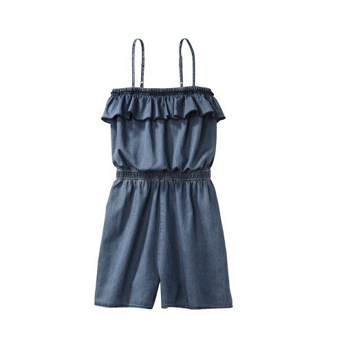 NEW Mossimo Juniors Cute Summer Spaghetti Strap Ruffle Romper Denim Light Fabric