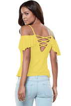 Yellow Crisscross Back Ruffle Cold Shoulder Top  - $15.34