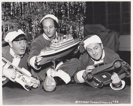3 Stooges Christmas  Moe Larry Curly Vintage 8X10 BW TV Memorabilia Photo - $6.99