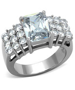 Stainless Steel 3 Carat Clear Emerald CZ Engagement Ring, Size 5,6,7,8,9,10 - $29.89