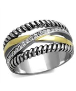 Stainless Two Tone Clear Channel Set Crystal Eternity Ring, Size 5,6,7,8... - $29.89