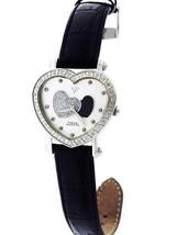 SWISS AQUA MASTER LADY BLACK AND SILVER HEART 0.50CT DIAMONDS WHITE FACE... - $197.99
