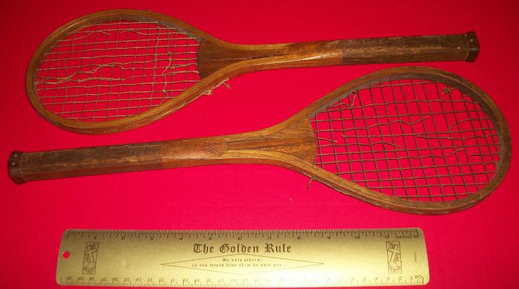 Sport Treasure Tennis Racquet Racket Sporting Good Pair Old Wood Equipment Decor