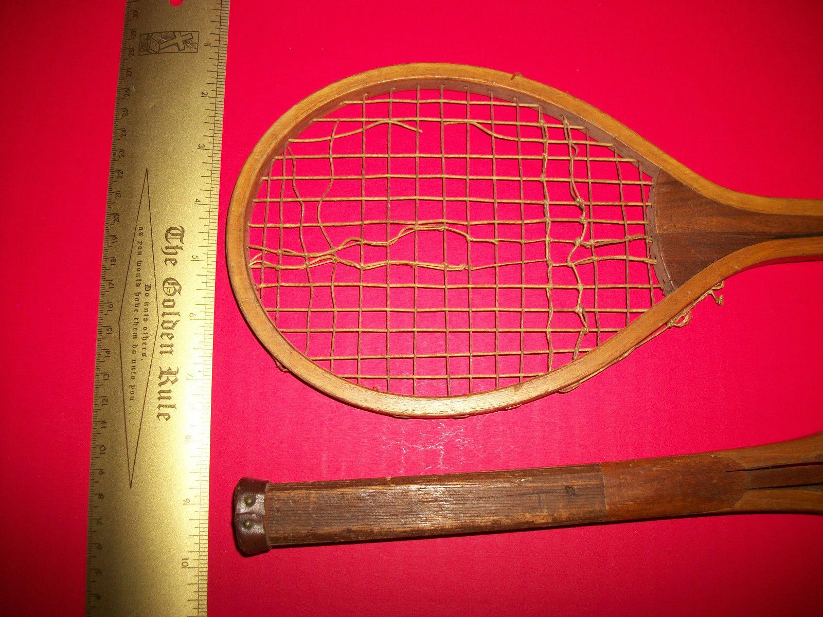 Sport Treasure Tennis Racquet Racket Sporting Good Pair Old Wood Equipment Decor image 7