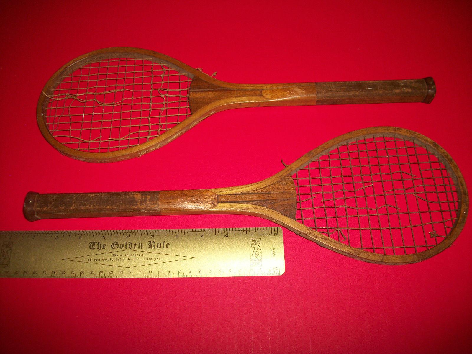 Sport Treasure Tennis Racquet Racket Sporting Good Pair Old Wood Equipment Decor image 10