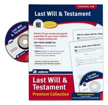 Adams Last Legal Forms Kits Will and Testament with CD Forms and Instruc... - $19.03