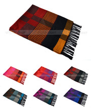 Plaids Checks Stripped Pashmina Silk Scarf Wrap Shawl Soft Classic Tear Fringe - $8.45