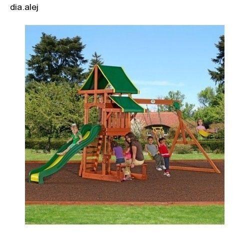 backyard swing set kit playground slide kids cedar outdoor play wooden