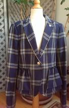 Juicy Couture Navy Plaid Wool-Blend Prep School Preppy Blazer Jacket Girl 12 - $120.82