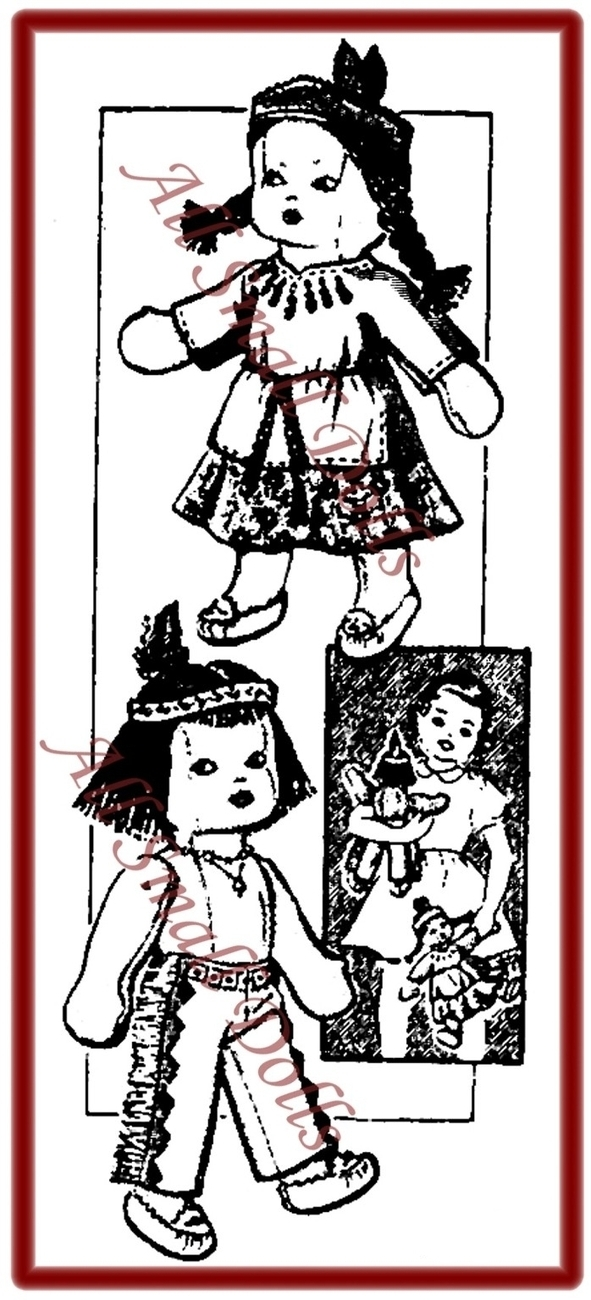 Vintage Pattern for American Indian Cloth Dolls