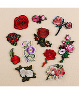 Rose Flower Applique Badge Embroidered Sew Iron on Patch Bust Dress Craft 11pcs - $1.70