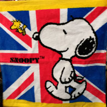Snoopy Travel At Britain Blue Flag Cute 34 X 35 Cm Daily Use Face / Hand Towel - $8.88