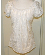 Once Again Women's White Embroidered Bead embellished short sleeve knit ... - $14.99