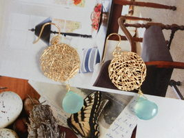 MOROCCAN Netted Coin and PERUVIAN BLUE CHALCEDONY GOLD Earrings Studs - $24.50