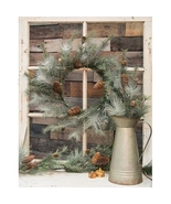 "Icy Glitter Wreath w/ cones 24"" D Christmas door decor - $64.50"