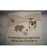 Brown on White Cross Stitched Farm Animal Sampler Ready to Frame - $50.00