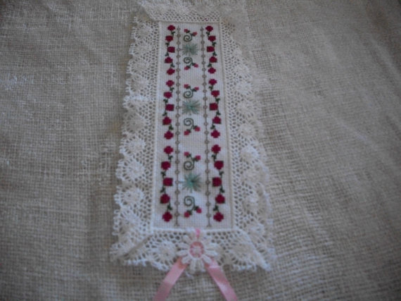 Primary image for White Fabric with Red Rose Floral Cross Stitch Bookmark