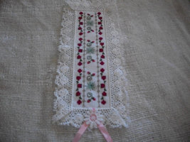 White Fabric with Red Rose Floral Cross Stitch Bookmark - $15.00