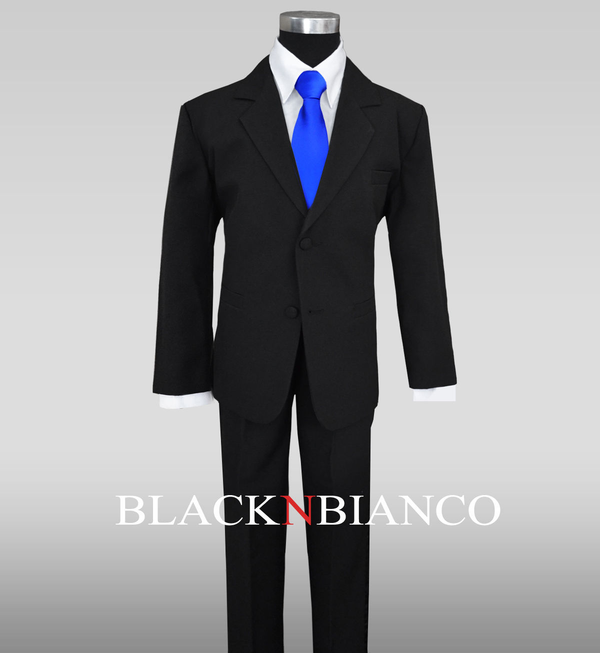 a09418b76dd Formal Boy 3 Piece Black Suit with a Royal Blue Long Neck Tie All Size
