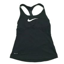 Nike Racerback Tank Top Sports Bra Size XS Dry Fit Black Shirt Workout F... - $22.58