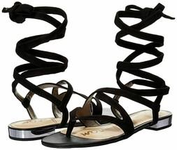 Sam Edelman 8 Davina Gladiator Flats Sandals Shoes Black Leather Lace Up N32 - $33.84