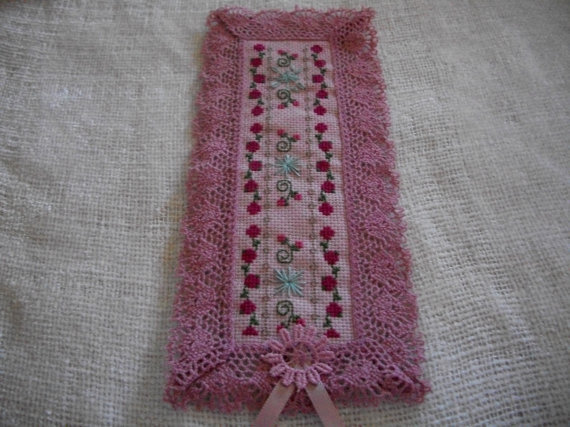 Primary image for Cross Stitch Rose Bookmark on Pink Fabric