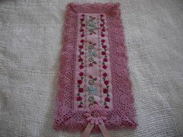 Cross Stitch Rose Bookmark on Pink Fabric - $15.00