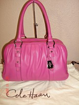 Cole Haan Stunning Magenta Pleated Leather 3 Entry Satchel Shoulder Bag ... - $74.20