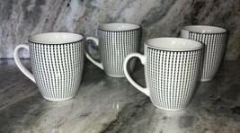 Royal Norfolk White Striped Stoneware Coffee Mugs Dinnerware Cups-Set Of 4-RARE - $54.33