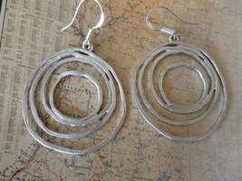 Multi Rings HOOPS  MATTE Silver Earrings  - $18.30