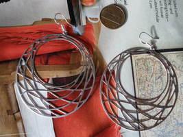 Netted Rings HOOPS  MATTE Silver Earrings  - $18.30