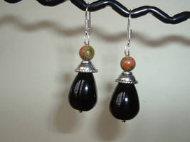ONYX and UNAKITE Sterling Silver Earrings 435 - $14.14