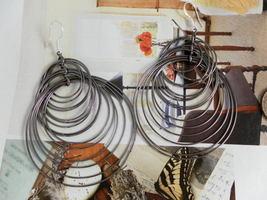 Oriental HOOPS Multi-rings Oxidized Earrings MOROCCAN STYLE - $16.40