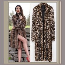Long Leopard Mid Calf LengthTurn Down Collar Faux Fur Fashion Coat