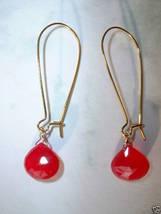 RASSBERRY CHALCEDONY TEARDROP FACETED GOLD Earrings 534 - $12.38