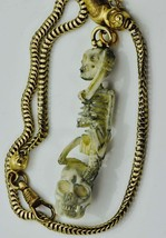 MUSEUM Victorian Memento Mori Skull/Skeleton 18k gold pocket watch chain... - $5,460.00