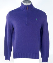 Polo Ralph Lauren Purple Half Zip Mock Neck Cotton Sweater Green Pony Men's NWT - $97.49