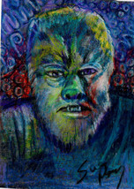 original ACEO size drawing Vintage horror monster movie Wolfman Halloween - $20.99