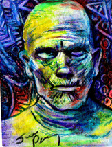 original ACEO size drawing Vintage horror monster movie Mummy Halloween - $20.99